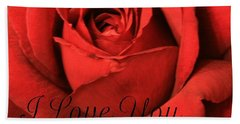 I Love You Beach Towel by Marna Edwards Flavell