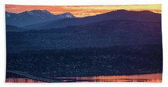 I90 Eastside Sunrise Fire Beach Towel by Mike Reid