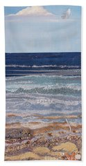 Beach Towel featuring the mixed media Icarus Flying by Stanza Widen