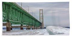 Beach Sheet featuring the photograph Ice And Mackinac Bridge  by John McGraw