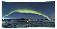 Ice And Northern Lights Beach Towel