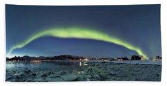 Ice And Northern Lights Beach Sheet
