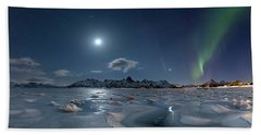 Ice And Northern Lights II Beach Towel