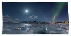 Ice And Northern Lights II Beach Towel
