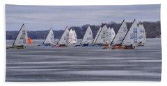 Ice Boat Racing - Madison - Wisconsin Beach Towel