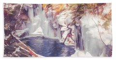 Ice Cold View Of Sages Ravine. Northwest Connecticut Beach Towel