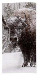 Ice Cold Winter Buffalo Beach Towel