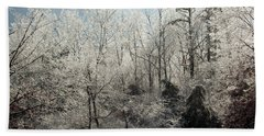 Ice Covered Trees Beach Towel