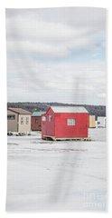 Ice Fishing Shacks On Lake Winnipesaukee Beach Towel