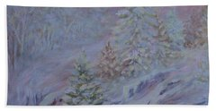Ice Fog In The Forest Beach Towel