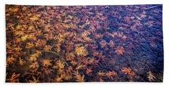 Ice On Oak Leaves Beach Sheet