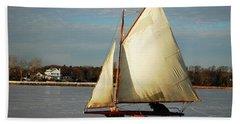 Ice Yachting Beach Towel by James Kirkikis