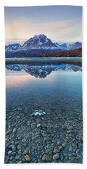 Icebergs And Mountains Of Torres Del Paine National Park Beach Sheet by Phyllis Peterson