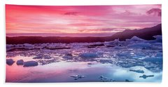 Icebergs In Jokulsarlon Glacial Lagoon Beach Sheet by Joe Belanger
