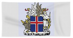 Beach Towel featuring the drawing Iceland Coat Of Arms by Movie Poster Prints