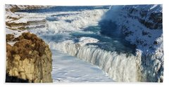 Iceland Gullfoss Waterfall In Winter With Snow Beach Towel by Matthias Hauser