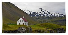 Beach Towel featuring the photograph Iceland House And Glacier by Joe Bonita