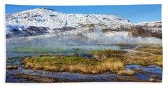Iceland Landscape Geothermal Area Haukadalur Beach Towel by Matthias Hauser