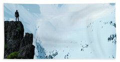 Iceland Snow Covered Mountains Beach Towel