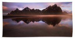 Iceland Sunset Reflections Beach Towel