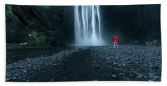 Iceland Waterfall Beach Towel