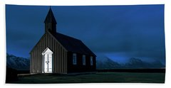 Beach Towel featuring the photograph Icelandic Church At Night by Dubi Roman