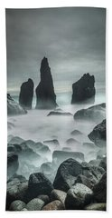 Icelandic Storm Beach And Sea Stacks. Beach Towel