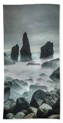 Icelandic Storm Beach And Sea Stacks. Beach Towel