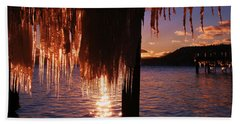 Icicle Stars Sunset Beach Towel by Sean Sarsfield