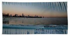 Icicles And Chicago Skyline Beach Towel