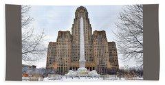 Iconic Buffalo City Hall In Winter Beach Towel