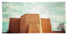 Beach Towel featuring the photograph Iconic Church In Taos by Marilyn Hunt
