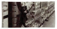 Iconic Movie Moments - Harold Lloyd Beach Towel