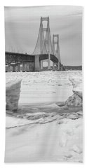 Beach Towel featuring the photograph Icy Black And White Mackinac Bridge  by John McGraw
