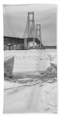 Beach Sheet featuring the photograph Icy Black And White Mackinac Bridge  by John McGraw