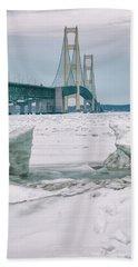 Beach Towel featuring the photograph Icy Day Mackinac Bridge  by John McGraw