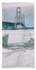 Beach Sheet featuring the photograph Icy Day Mackinac Bridge  by John McGraw