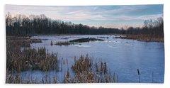 Icy Glazed Wetlands Beach Sheet by Angelo Marcialis