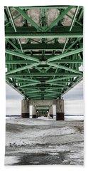 Beach Towel featuring the photograph Icy Mackinac Bridge In Winter by John McGraw