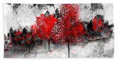 Icy Red Landscape Beach Towel