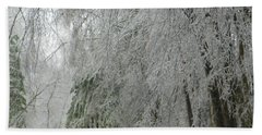 Icy Street Trees Beach Towel