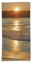 Beach Towel featuring the photograph Icy Sunset by Beth Sawickie