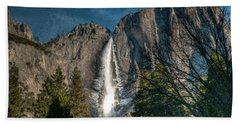 Icy Upper Yosemite Falls Beach Towel