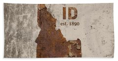 Idaho State Map Industrial Rusted Metal On Cement Wall With Founding Date Series 045 Beach Towel