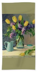 Ideal - Yellow Tulips And Lilacs In A Blue Mason Jar Beach Sheet