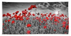 Idyllic Field Of Poppies With Sun Beach Towel