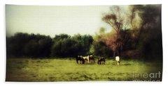 Idyllic Horse Scene Beach Sheet