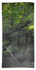 Beach Towel featuring the photograph If A Tree Falls In The Woods by Skip Willits