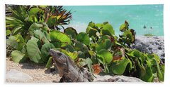 Iguana At Tulum Beach Towel by Roupen  Baker