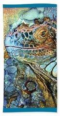 Beach Sheet featuring the mixed media Iguana - Spirit Of Contentment by Carol Cavalaris